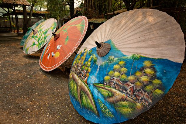 Colorful handmade umbrellas in the traditional workshop in Chiang Mai, Thailand