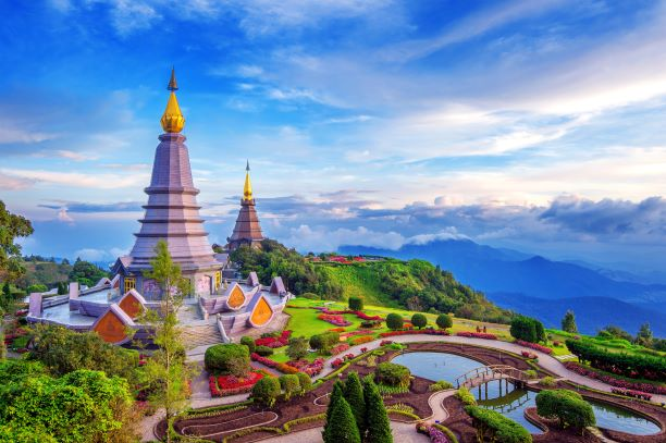 Landmark pagoda in doi Inthanon national park at Chiang mai in Thailand