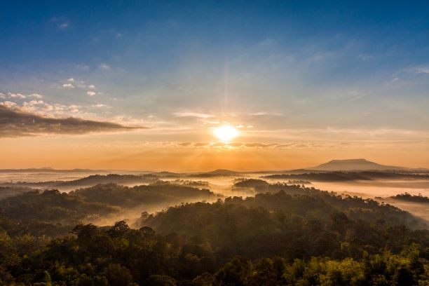 Amazing morning view of sunrise at Nam Nao national park