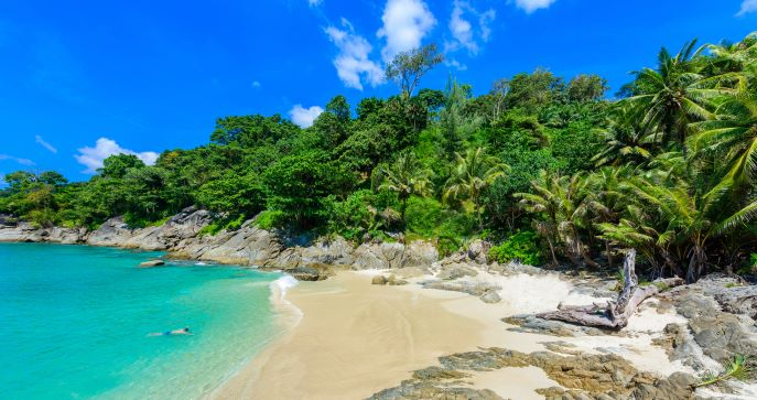 Freedom beach, Phuket, Thailand - Tropical island with white paradise sand beach and turquoise clear water and granite stones