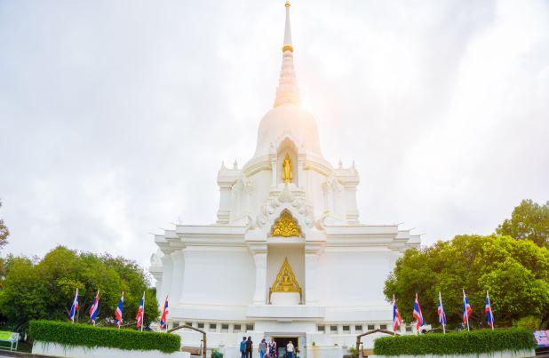 white Kanchanapisek Pagoda in Phetchabun Thailand