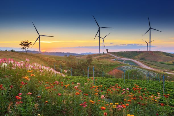 Landscape view of Wind turbines at sunset in Ban Thung Samoe in Khao Kho