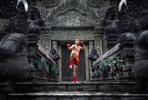 Muay Thai fighter preparing to fight Bangkok
