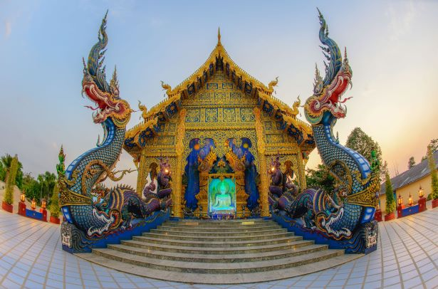 Naga in front of ubosot in Rong Suea Ten Temple