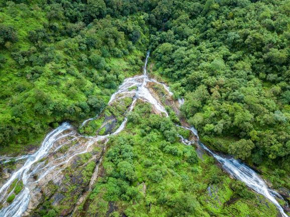 Pi Tu Gro Waterfall is often called the Heart waterfall-Tak Thailand