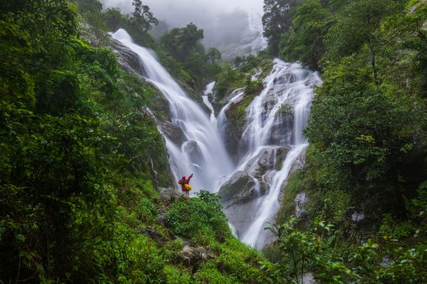 Pi-tu-gro waterfall,the heart waterfall in Tak, ThaiLand