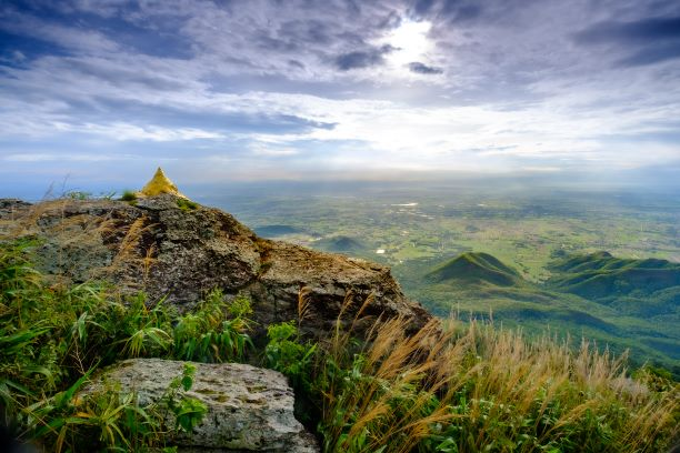 Rocky cliff in the morning on Khao Luang mountain in Ramkhamhaeng National Park