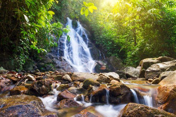 the beautiful rainbow of  Sai Rung Waterfall in Sukhothai