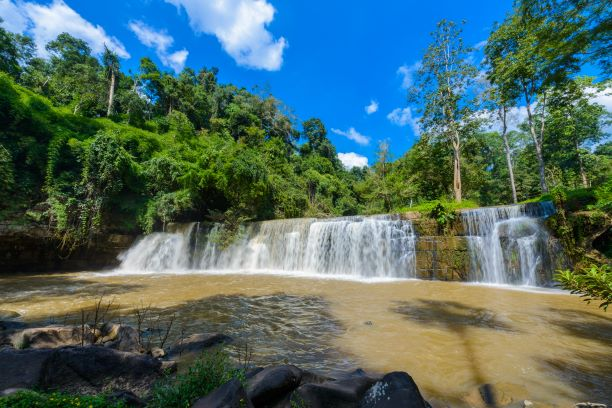 A limestone waterfall of Si Dit Waterfall in khao kho national park