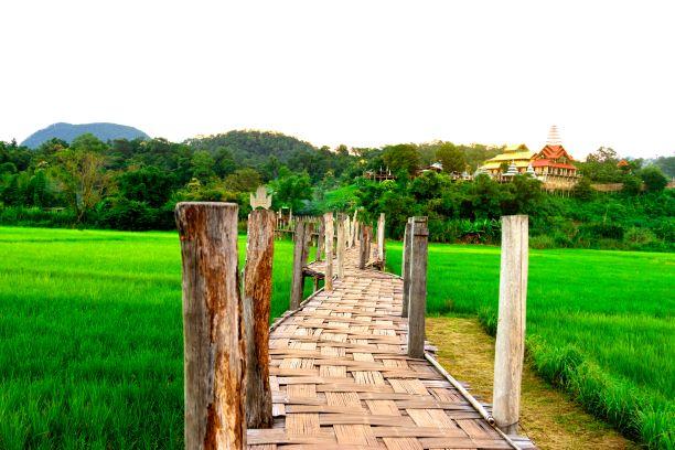 Su tong pae Bridge. the longest wooden bridge in Mae Hong Son