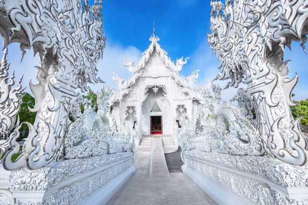 Ubosot or Sermon Hall of Wat Rong Khun or White Temple