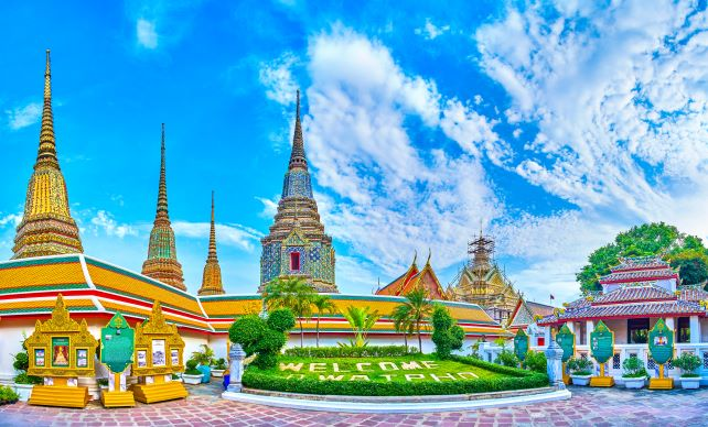 Wat Pho or Temple of the Reclining Buddha in Bangkok Thailand