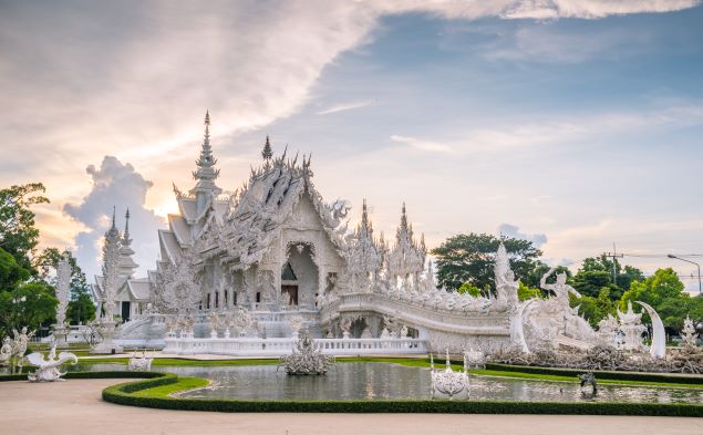 Wat Rong Khun or the white temple in Chiang Rai Thailand