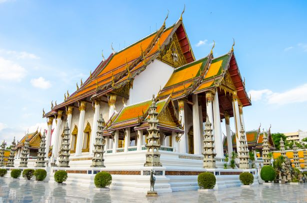 hall of temple with beautiful architecture in wat Suthat Thepwararam