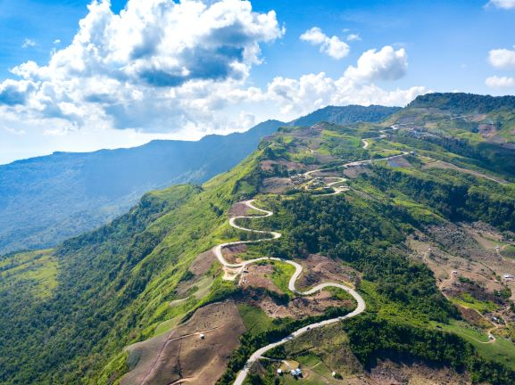 mountain paths exciting steep at Phu Thap Buek