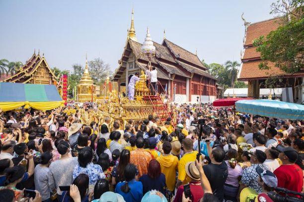 wat phra singh statue -songkran-festival-chiangmai-thailand