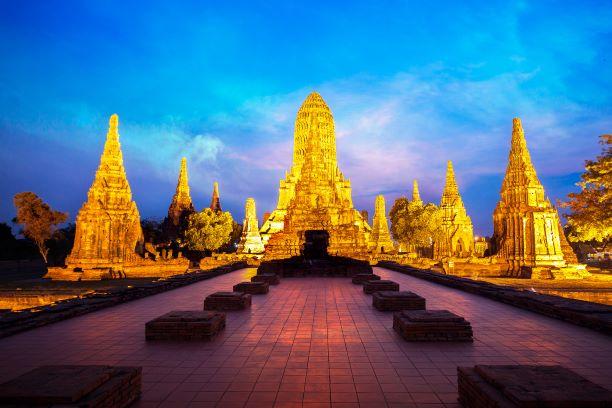 Ancient Temple at dusk, Wat Chaiwatthanaram