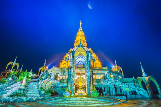 Beautiful Pagoda of Wat Pha Sorn Kaew in twilight