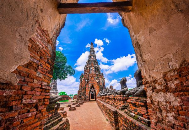 Historical monuments and old brick pagoda
