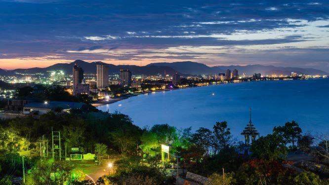 Hua Hin cityscape Thailand at twilight