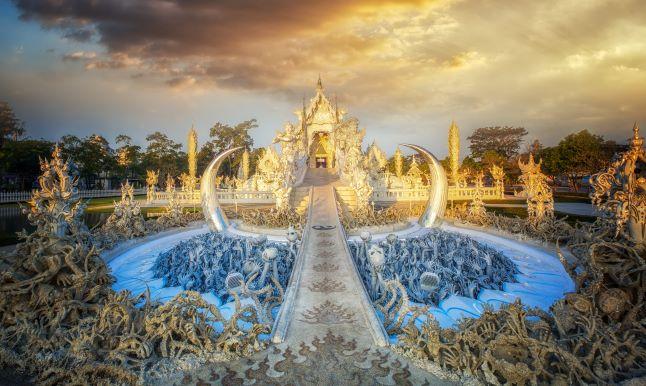 Magnificently grand white sermon hall , Rong Khun temple, Chiang Rai Thailand