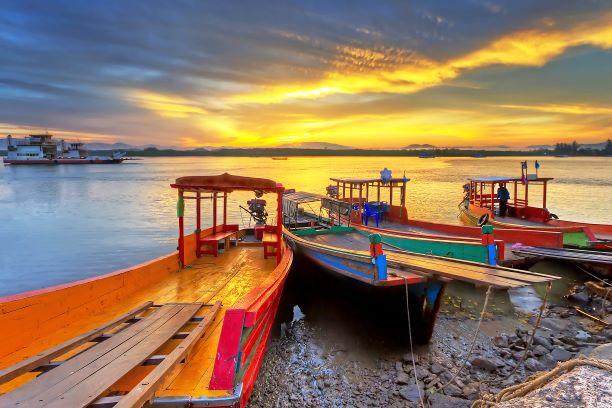 Sunrise at the river in Koh Kho Khao, Thailand