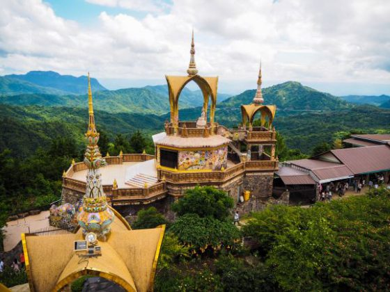 Temple on a glass cliff,Wat Pha Sorn Kaew