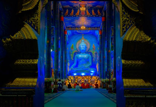The Blue Temple hall in the night time-Chiang Rai Thailand