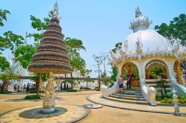 The silver Bo (Bodhi) prayer tree with thousands leaves at Wat Rong Khun-Chiang Rai Thailand