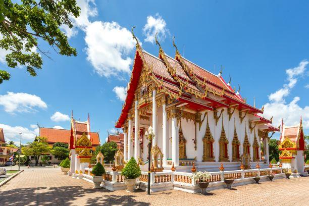 Ubosot or sermon hall of Wat Chalong Temple, Thailand, Phuket