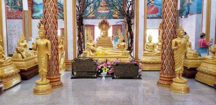 Wat Chalong Buddhist Temple interior with gold statues,Phuket Thailand