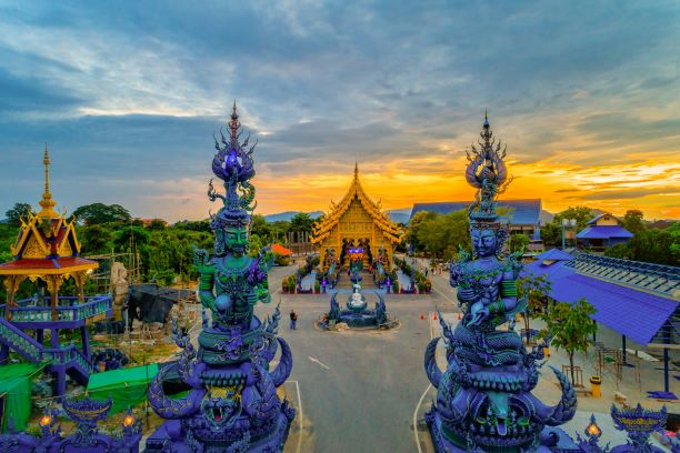 Wat Rong Suea Ten (Temple of Tigers Leaping over Channel) or the Blue Temple-Chiang Rai Thailand