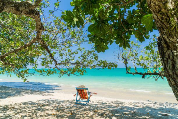 Woman White sand beach in Khao Lak Thailand