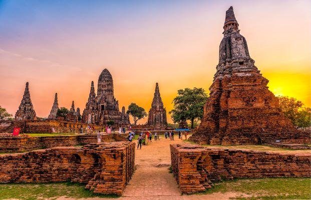 around the world in wat chaiwattanaram, Ayutthaya Thailand