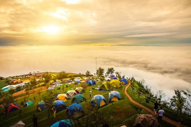 morning mist on the high mountains at Phu Thap Boek , Phetchabun,Thailand