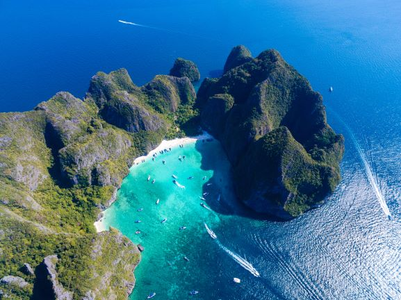 Aerial view of The Hidden paradise in the Andaman