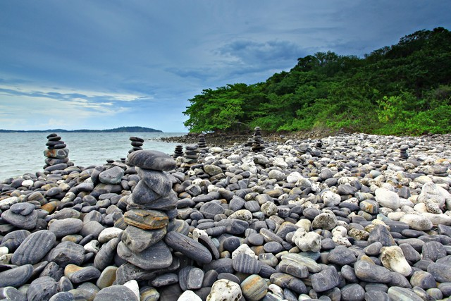An island of smooth polished rocks in formation