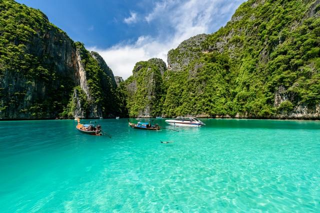 Beautiful crystal clear water at Pileh bay at Koh Phi Phi near Phuket, Thailand
