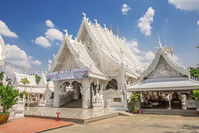 Beautiful of white temple or Wat Ming Mueang and Nan City Pillar Shrine