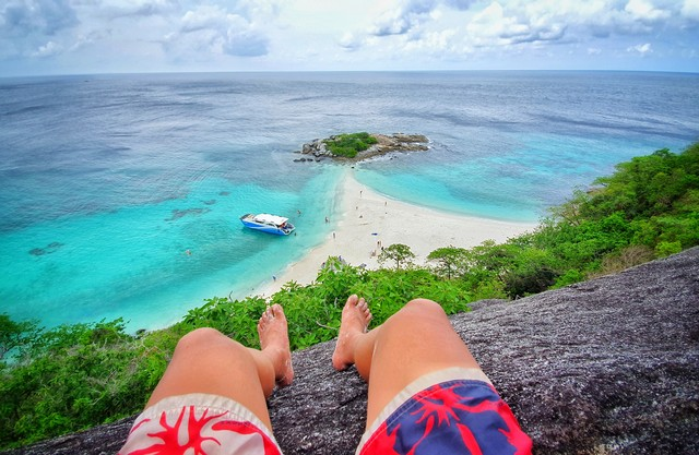 Bird eye view sitting on top of Racha Noi island in Phuket