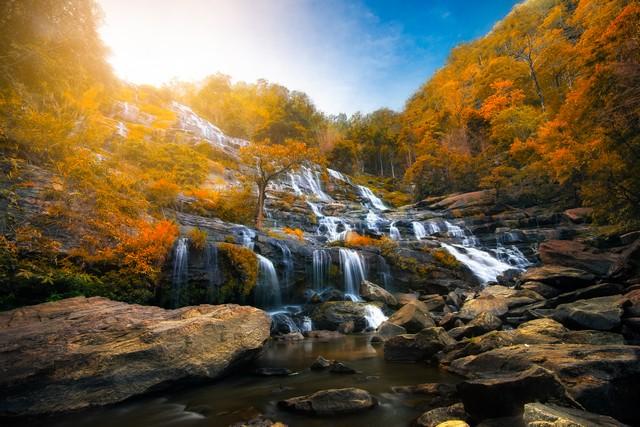Mae Ya Waterfall in autumn natural of Doi-Inthanon at Chiang Mai