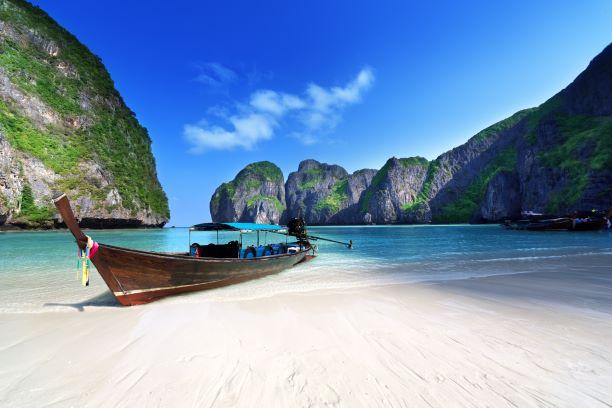 clear water in Maya bay Phi Phi Leh island in Thailand