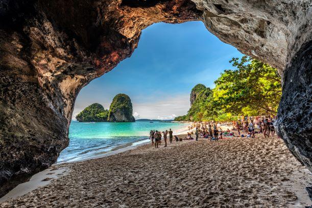 Phra Nang Cave in twilight, Phi Phi Krabi Thailand