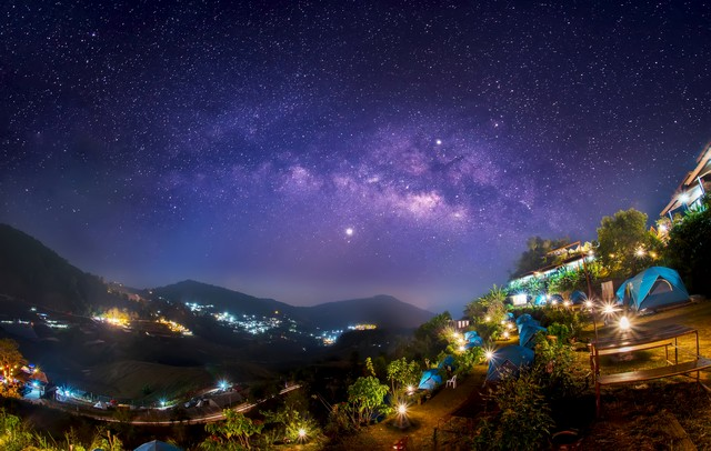 The Milky Way galaxy Up in the dawn on Doi Mon Jam, Chiang Mai, Thailand