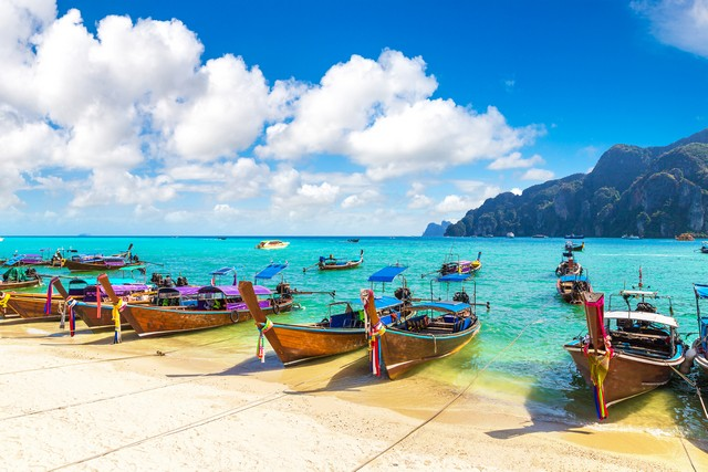 Traditional thai longtail boat at Log Dalum Beach on Phi Phi Don island, Thailand