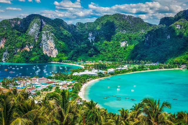 Tropical island with resorts - Phi-Phi island, Krabi, Thailand