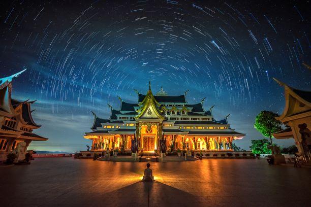 Twilight in Pa Phu Kon Temple in Udon Thani