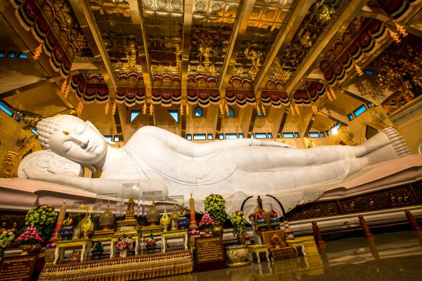 The Beautiful of white marble reclining Buddha image