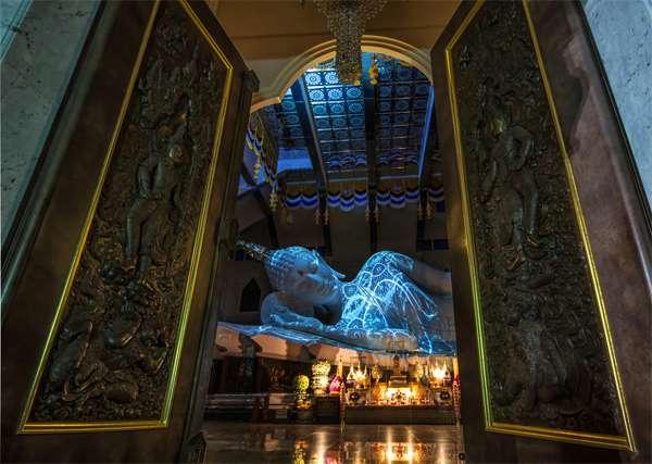 The white marble reclining Buddha image
