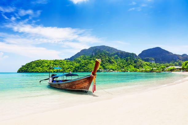 beautiful sand beach at Koh Phi Phi island in Krabi, Ao Nang, Thailand